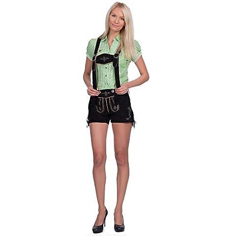 Damen Ledershorts Ziegenveloursleder schwarz in Größe