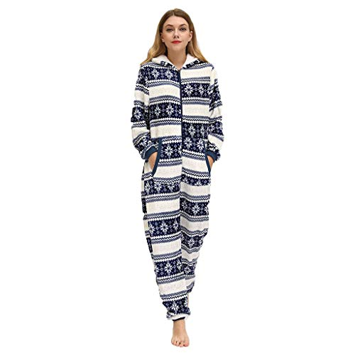 INLLADDY Damen Pyjama Jumpsuit Onesie Overall Farben Freizeitanzug Overall Strampler Trainingsanzug Lose D XXL