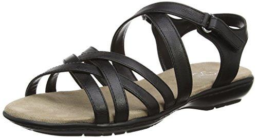 Evans Damen Extra Wide Black Sandalen mit Absatz Schwarz (Schwarz)