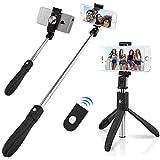 Bluetooth Selfie Stick Stativ, Abafia Erweiterbar Selfie-Stange Stab mit Stativ und Fernauslöser 360° Rotation Wireless Handy Stativ Selfiestick mit Rückspiegel Tragbar Selfie Stick für iPhone X / 8 / 7 / 7 plus / 6s / 6 Plus / SE / Samsung Galaxy S9...