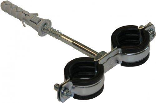 Anti Vibration Doppel-Metall-Rohrschellen Schellen Gummi für 32-37mm Rohre (1