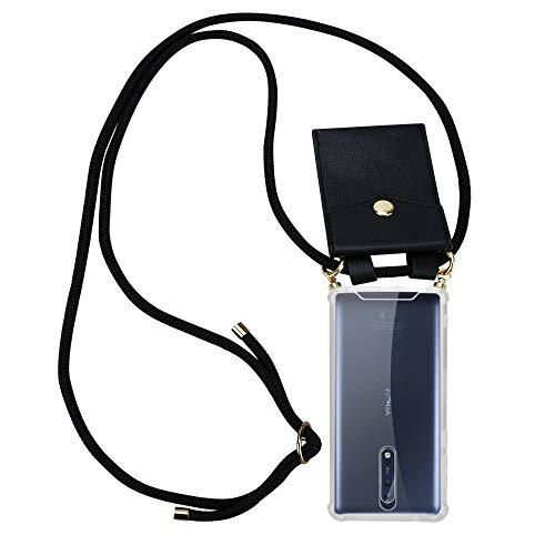 Cadorabo Handy Kette für Nokia 8 2017 in SCHWARZ - Silikon Necklace Umhänge Hülle mit Gold Ringen, Kordel Band Schnur und abnehmbarem Etui - Schutzhülle