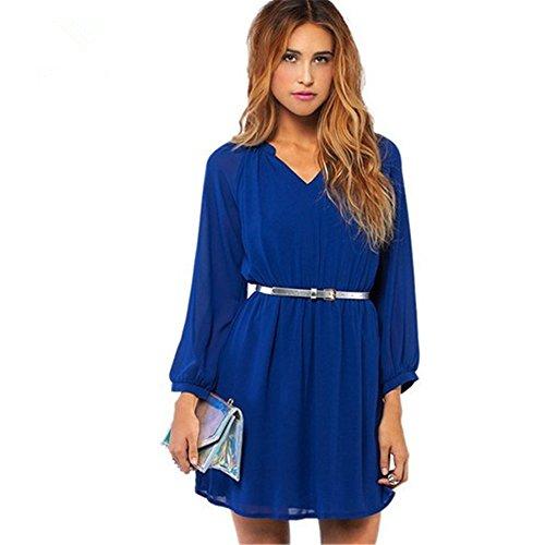 JOTHIN Damen V-ausschnitt Chiffon Minikleid Einfarbige Langarm Kleider mit Gürtel Blau