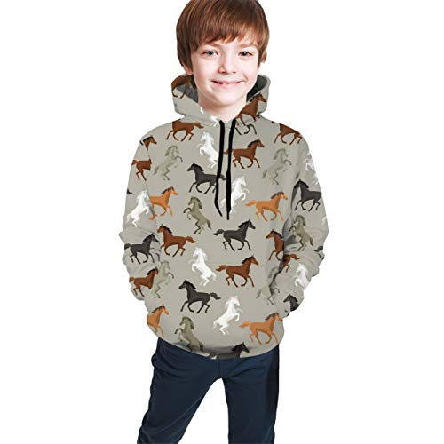 Fashion Unisex Teen Hooded Sweatshirts,Abstract Stallions Simple Design Equestrian Animals Galloping Curvet Illustration,Pullover Hoodie Sweatshirt Athletic Casual with Big Pockets,L