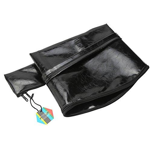 Morbida pelle sintetica Ricurvo prua borsa bauletto faretra per formazione di tiro con l'arco di caccia all'aperto (marrone) nero