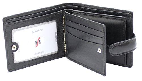 StarHide® Herren Weiches Luxus Italienisches Gemüse Gegerbtes Leder Dreifach Geldbörse Mit ID-Kartentasche, Kreditkarten Taschen & Münztasche #1212 (Schwarz) Schwarz