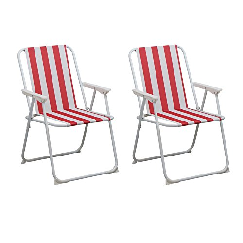 Folding Portable Beach / Camping Deck Chair - Red Stripe - Pack of 2