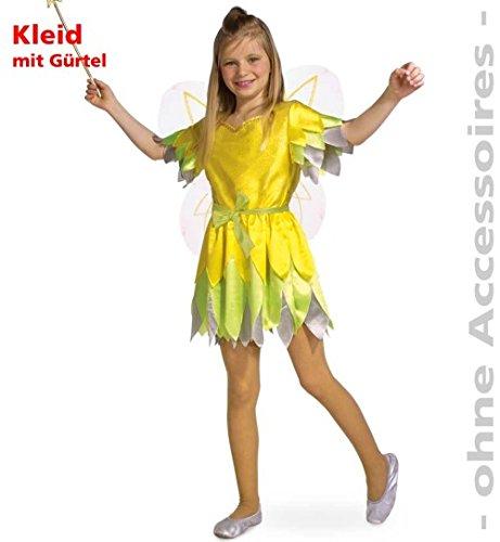 Pixie 116 Kleid mit Gürtel gelb/grün Kinder-Kostüm Fasching ()