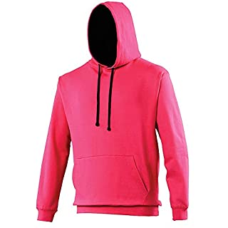 AWDis AWD is Hoods JH003 Varsity Hoodie - Hot Pink/French Navy XS Blank Plain