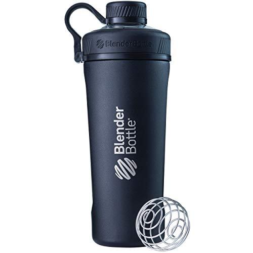 BlenderBottle Radian Edelstahl , Wasserflasche , Protein Shaker, Diät Shaker, Fitness Shaker , BPA frei , mit BlenderBall , Isolierflasche , Doppelwandig - Schwarz (770ml - skaliert bis 530 ml) -