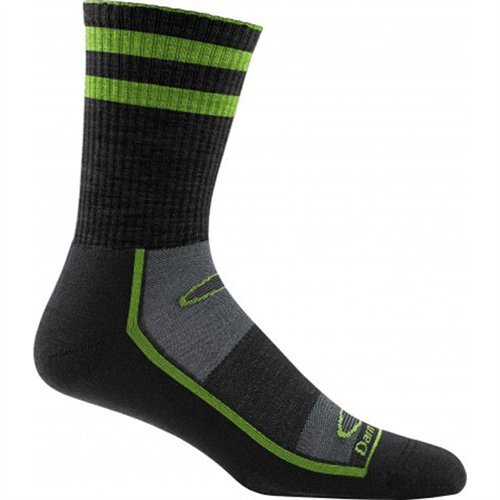 Darn Tough Dynamite Stripe Light Cushion Gym Sock - Men's Black/Green X-Large DISCONTINUED