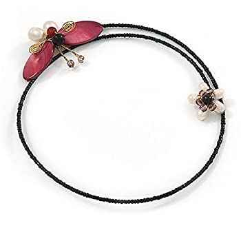 Shell Butterfly & Freshwater Pearl Flower Flex Wire Choker Necklace - Adjustable 4