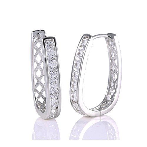 GULICX White Gold Electroplated Round White Zircon CZ Charm Women Lady Hoop earring