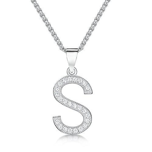 Sólo Jo inicial S 'plata de ley y circonita cúbica Letra Colgante en 41–46cm cadena de Spiga