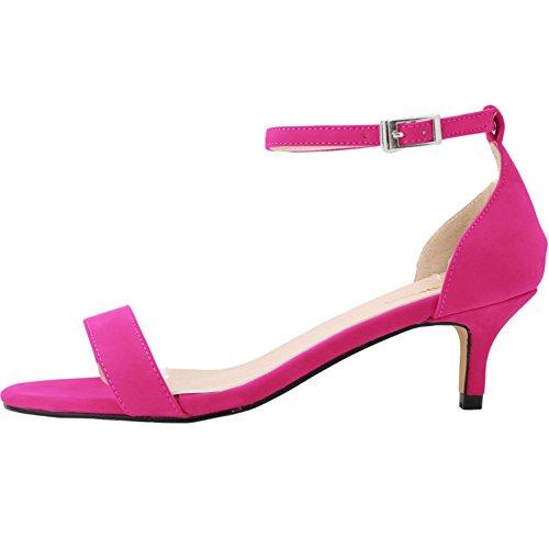 Damen Sommer Sandalen Atmungsaktive Leichtgewicht Kitten-Heel Schnalle Bequem Pumps Rosa Rot