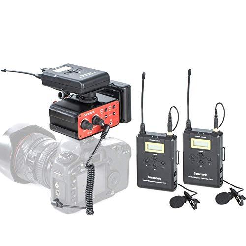 Saramonic Wireless UHF Dual Lavalier-Mikrofonsystem mit 2 Bodypack-Sendern, 2 tragbaren Empfängern und einem Premium-Audiomixer für DSLR-Kameras und Camcorder