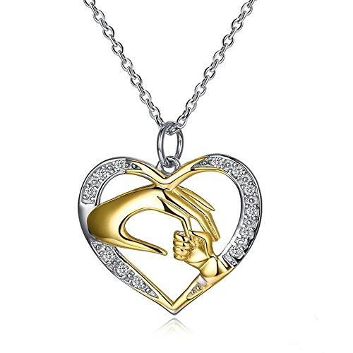 Haixin S925 argent Sterling en forme de coeur diamant pendentif collier maman aime Collier Collier longueur 41 mm + 2,5 mm (réglable)