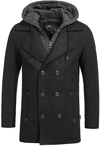 Indicode Herren Cliff Jacke Lange Jacke aus hochwertiger Wollmischung mit Stehkragen Black S -