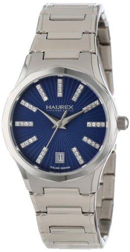 Haurex Italy Women's 2A389DB1 Iris Round Stainless Steel Blue Sunray Dial Swarovski Date Watch