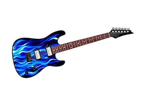 Cool Electric Gitarre Design mit Blau Flammen Fire Motiv Auto-Aufkleber Vinyl Aufkleber 150x 50mm