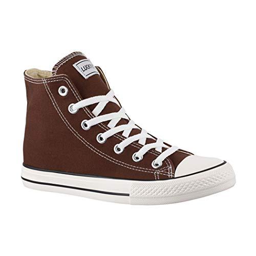 Elara Unisex Sneaker | Bequeme Sportschuhe für Damen und Herren | Low top Turnschuh Textil Schuhe Chucks-Hoch-1-CB019 Brown-43 (Allstar Sneakers In Braun)