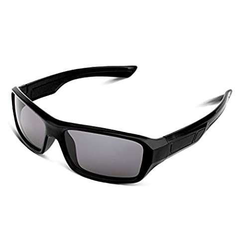 RIVBOS RBK033 Rubber Flexible Kids Polarized Sunglasses Age 3-10 (Rectangle Black)