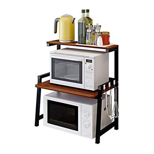 Kitchen Spice Rack - Rejilla de Horno de microondas de 2 Capas Rack de Horno de Escritorio Máquina de café multifunción | Olla arrocera | Rack de Almacenamiento de vajillas H70 y Veces; W35