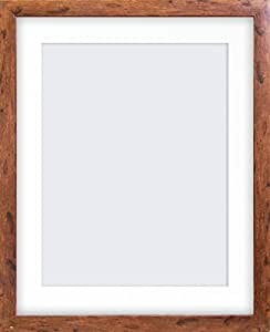 """20x16"""" Rustic Wood Effect Photo Frame With Mount & Glass Window (Width 3cm)"""