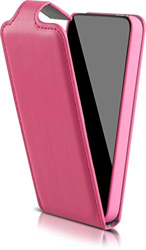 Blumax Flip Case für iPhone SE iphone 5S 5 Ledertasche echt Leder Handytasche Pink (4 Iphone Wallet Pink Etui)
