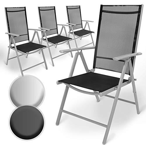 Aluminium Gartenstuhl mit Armlehnen Set - 5-Fach verstellbar, leicht, klappbar, mit 2x1 Kunststoffgewebe - Hochlehner, Klappstuhl, Liegestuhl, Stühle, Sitzmöbel, Garten, Terrasse (4er, Hellgrau)