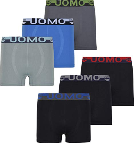 Herren Microfaser Boxershorts Uomo 9 Farbvarianten 12er 6er 3er Pack Elastan Schwarz Neon Palme Sterne Streife Löwe Eagle, Gr.- XL, 6x Eagle