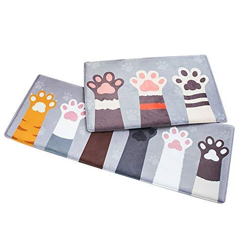 Tianzhiyi Küchenteppich Cartoon Katze Klaue Pad Bodenmatte Küchenmatte, rutschfeste Abnehmbare Waschbare Küchentheke Matte, Waschbar Barriere Türmatte