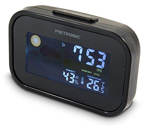 Metronic 477032- Despertador de Viaje Compacto con Datos meteorológicos, Color Negro