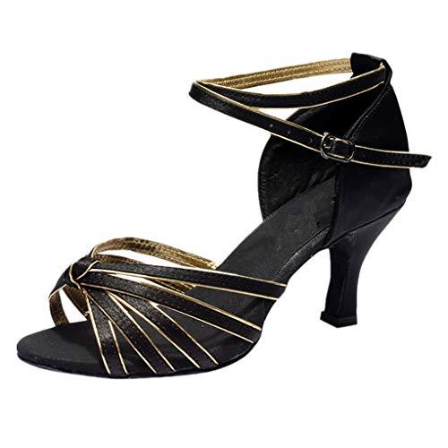 (Dorical PU Damen Tanzschuhe/Latein Übergrößen Sandale für Innen-Tanzen/Soziale Partei Tango Tanzschuhe/Walzer Tanzschuhe für Halloween Performance-Schuhe Valentinstag Schuhe (Gold,39 EU))