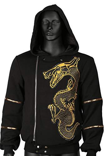 Mesky felpa con cappuccio zip sweatshirt cotone hoodie ricamato drago stampe suicide squad killer croc cernera maniche lunghe autunno inverno primavera unisex nero xl
