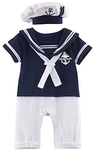 MOMBEBE COSLAND Baby Jungen Matrose Kostüm Strampler with Hüte (9-12 Monate / 100 UK, Schatz Blau)