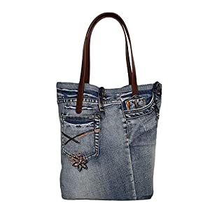 Jeanstasche Damen Shopper aus Jeansstoff mit Kunstleder Henkeln, handgemacht aus alten recycelten Jeans – 35 x 36 x 10 cm (Blau)