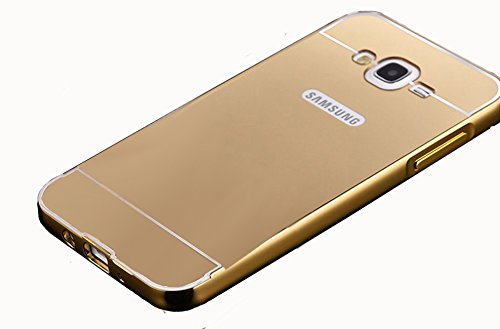 CEDO Premium Luxury Metal Bumper Acrylic Mirror Back Cover Case For Samsung Galaxy On7 Pro / On7 - Gold