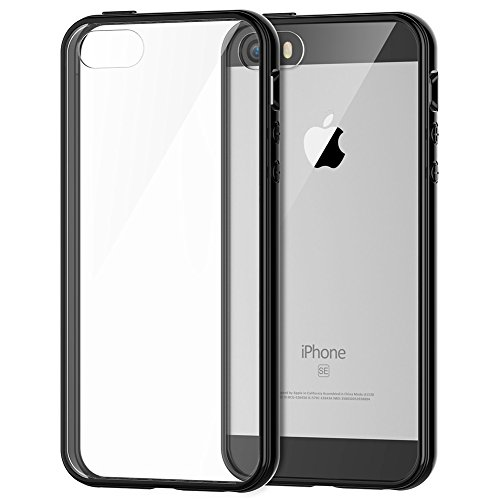 Protezione iPhone SUPTMAX SE [] [] SE minimalista iPhone-urti, colore: trasparente [] SE/paraurti per iPhone 5/5S, plastica, nero, iPhone SE/5S/5 nero