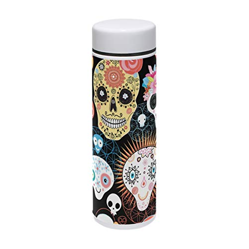 Thermoskanne mit Totenkopf-Muster, Edelstahl, Vakuum-isoliert, 200 ml, hält das Wasser für 24 Stunden kalt und warm, für 12 Stunden Kaffee, Reisetasse