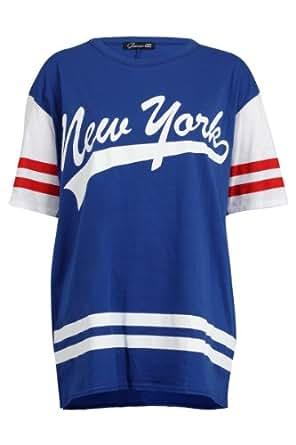 88L Womens Blue York Print Ladies American Football Jersey T-shirt Top Size 12/14