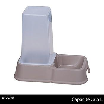 Distributeur de croquettes / eau - Chiens / Chats - 3,5 L - Gris