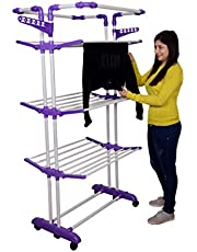Magna Homewares Heavy Duty Steel 4 Layers 4 Poles Super Grandis Cloth Drying Stand with Wheels and Cloth Hanger Holders-Purple