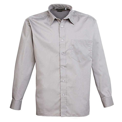 Premier Workwear Herren Businesshemd Poplin Long Sleeve Shirt Silver