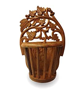 Pindia Beautiful Hand Carved wall hanging Flower Vase
