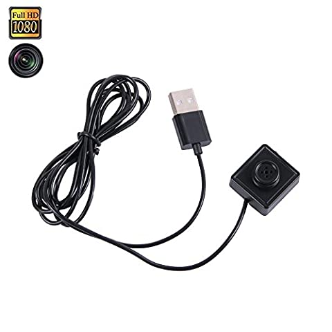 Spy Camera Button 1080P Hidden Camcorder ,Prweyn® HD Mini DV Camcorder / 24 Hours Audio Video Loop Recording 2 Meters USB Cable / Support Mobile Power