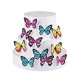 Essbare Cupcake-Topper für Hochzeitstorte, Geburtstag, Party, Lebensmitteldekoration, verschiedene Größen und Farben, 30 Stück schmetterling