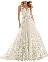 Vestido de novia del cordón con Cuello en V, Vestido de Boda del cinturón de