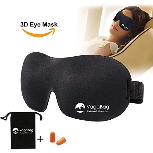 Premium 3D Schlafbrille und Gehörschutzstöpsel - geeignet für Frauen, Männer und Kinder - 100{99bffa399c544f7f712805b328bb4a30e06d134e971bd7e47b16f3e0e9c61db7} lichtundurchlässig - Augenmaske für bequemen Schlaf, Reise und Erholung.