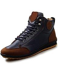 Gleader Hombres ocasional invierno del Alto-top zapatos de terciopelo calidas botas impermeables Zapatillas Azul ( Tamano: 44 )